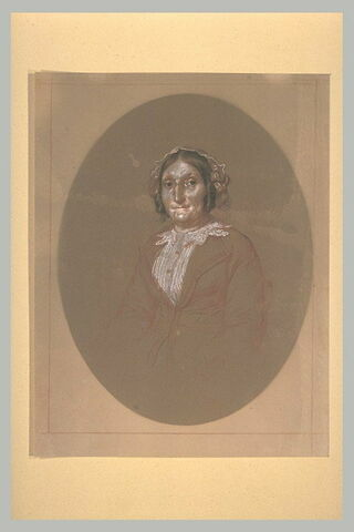 Portrait de Mme Jeannel, assise, de face, à mi-corps