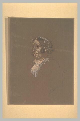 Portrait de Mme Jeannel, à mi-corps, assise, de trois quarts