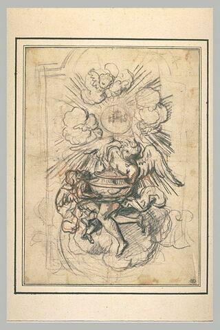 Etude pour un tabernacle : un ange et un angelot soutenant un vase sacré