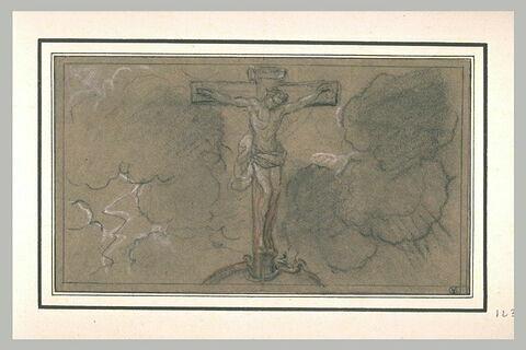 Le Christ sur la Croix, plantée sur la sphère terrestre parmi des nuages