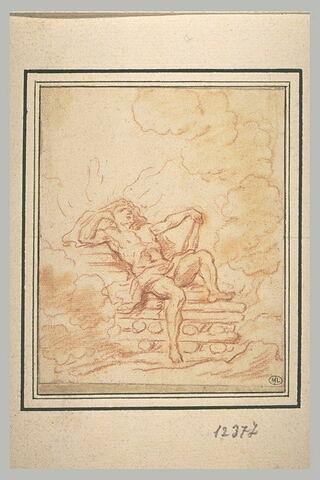 Hercule assis sur le bûcher