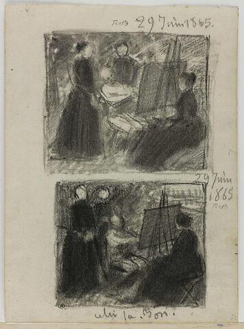 Peintre entourée de dames ; séance de pose