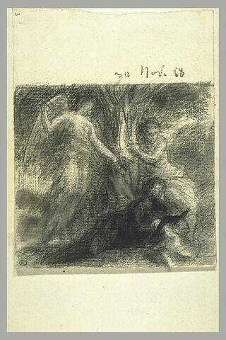 Poète entouré d'une Muse et d'une figure ailée