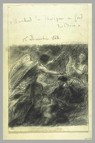 Poète écoutant une Muse jouant de la lyre, et une figure ailée