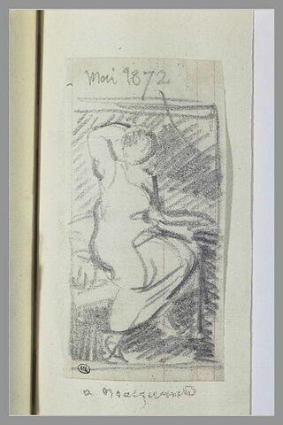 Le lever : une femme assise sur un lit, un linge sur les genoux