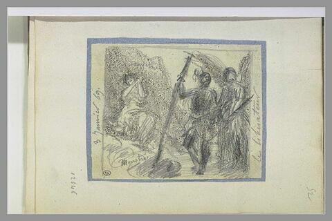 Une figure et un ange près d'une femme attachée
