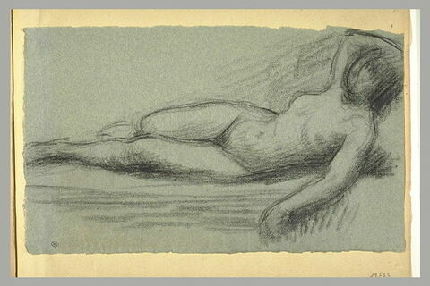 Femme couchée, nue, le bras droit derrière la tête