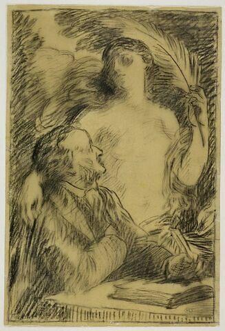 Richard Wagner assis à sa table, et sa muse