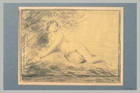Femme nue, étendue sous un arbre