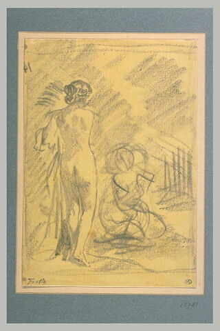 Femme nue, debout, de dos, et femme agenouillée