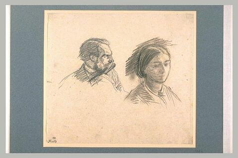 Profil d'homme barbu, et buste de femme, de trois quarts