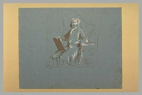 Homme en costume époque Louis XV, assis, tenant un livre