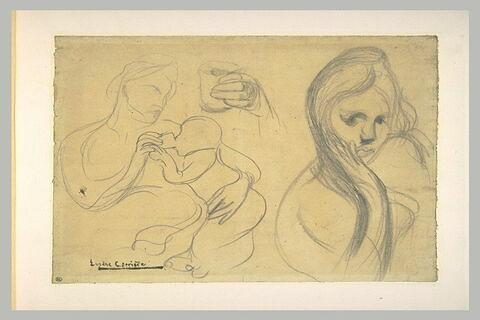 Femme donnant à boire à un enfant ; main tenant un verre ; buste de femme