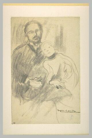 Homme assis, de face, tenant une petite fille