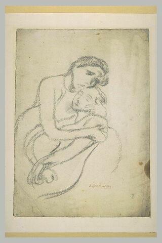 Femme assise, tenant dans ses bras une jeune fille
