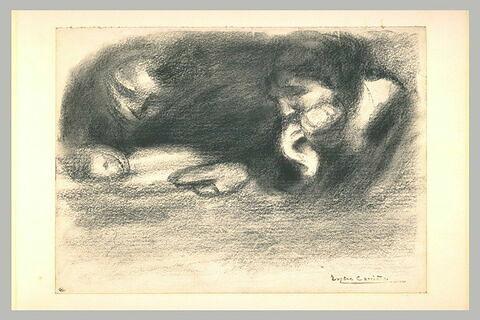 Figure d'homme écrivant, et femme portant la main droite à sa bouche