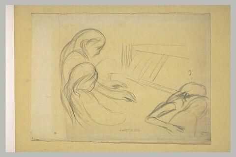 Jeune fille assise, devant un piano et femme tenant un enfant