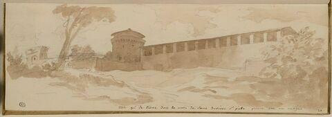 Vue d'une tour du mur d'enceinte de Rome, derrière Saint-Pierre