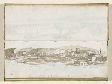 Paysage : le Colisée vu de dessus les murs de Saint-Jean-de-Latran