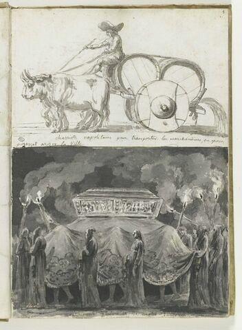 Chariot napolitain, scène d'enterrement