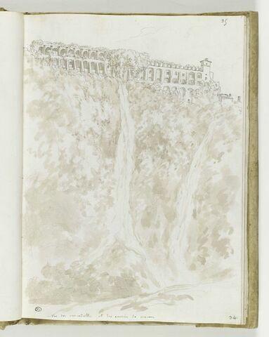 Vue des Cascadelles et des écuries de Mécène à Tivoli