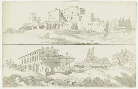Bâtiments près de l'Aqua Acetoza et vue de la Villa de Néron