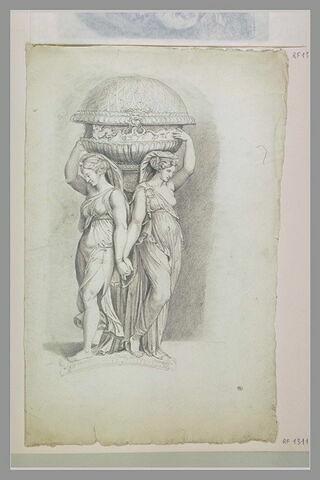 Cassolette : deux femmes supportant un vase