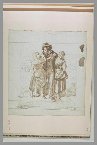 Homme enlaçant deux paysannes