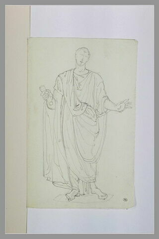 Statue romaine d'homme en toge, de face