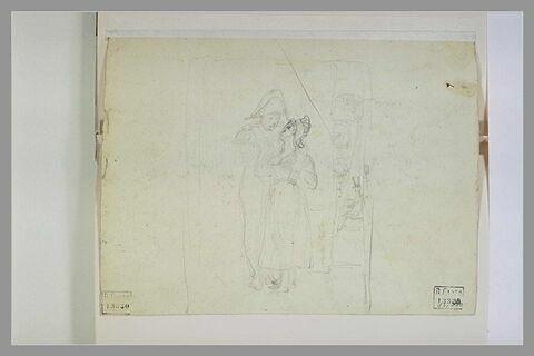 Soldat faisant la cour à une femme coiffée d'un bonnet phrygien