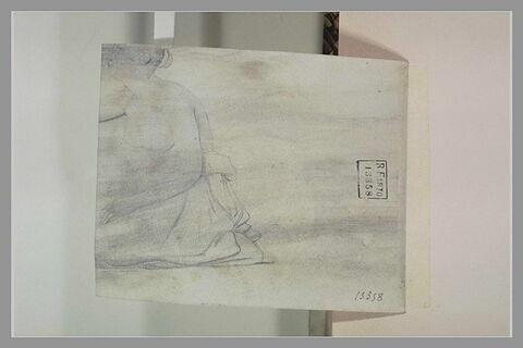 Femme nue, assise, de profil à gauche