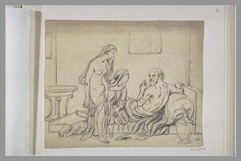 Femme présentant une jeune fille dévêtue à un vieillard couché sur son lit