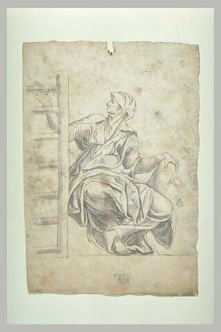 Femme au voile transparent, tenant une échelle et un livre