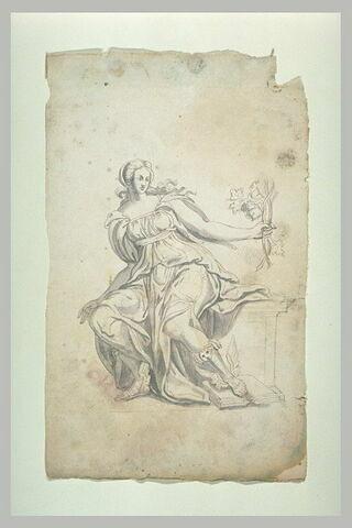 Femme drapée et chaussée de sandales aîlées, tenant des sarments de vigne