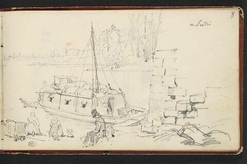 Embarcation au bord d'un fleuve, à Poissy