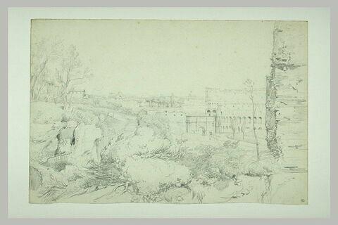 Rome : vue prise du Palatin sur l'arc de Constantin et le Colisée