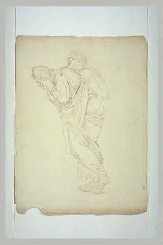 Deux hommes drapés, debout, dans une attitude de déploration: disciples de Socrate