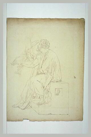 Vieillard assis, profil vers la gauche: un disciple de Socrate