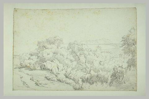Château dominant un golfe avec des montagnes, au fond