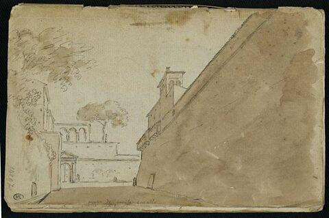 Vue des murs de Monte Cavallo (Rome)