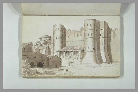 Vue des murs de Rome, près de la porte Saint-Jean
