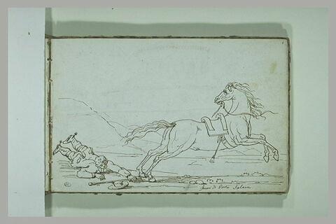 Personnage désarçonné de son cheval