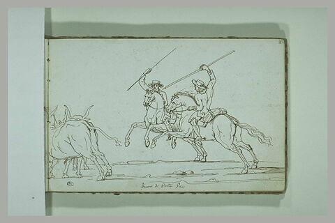 Deux picadors attaquant un taureau