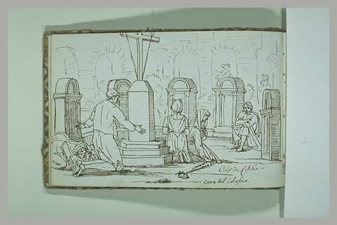 Personnages au milieu de tombes, à la Croix du Colisée, à Rome