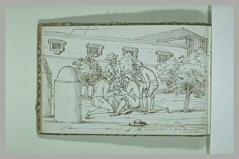 Hommes jouant aux cartes dans les jardins du palais Farnèse