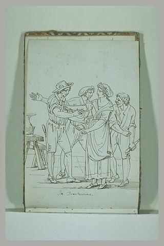 Groupe de quatre personnages, au Trastevere, à Rome