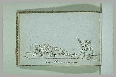 Homme allongé et femme filant la laine