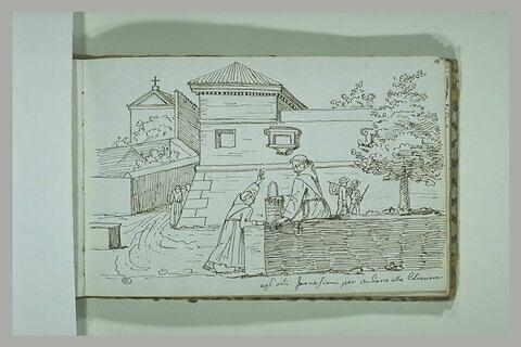Religieux discutant devant un palais