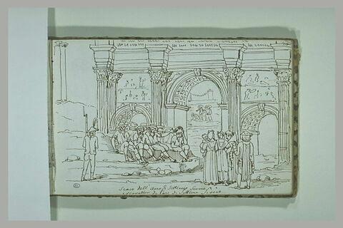 Groupe de personnages sous l'arc de Septime Sévère, à Rome
