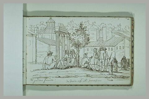 Groupe de personnages dans les jardins du palais Farnèse